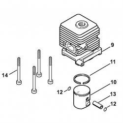 Цилиндр с поршнем, диам. 34 мм Stihl для мотокос FS 55 (4140-020-1204)